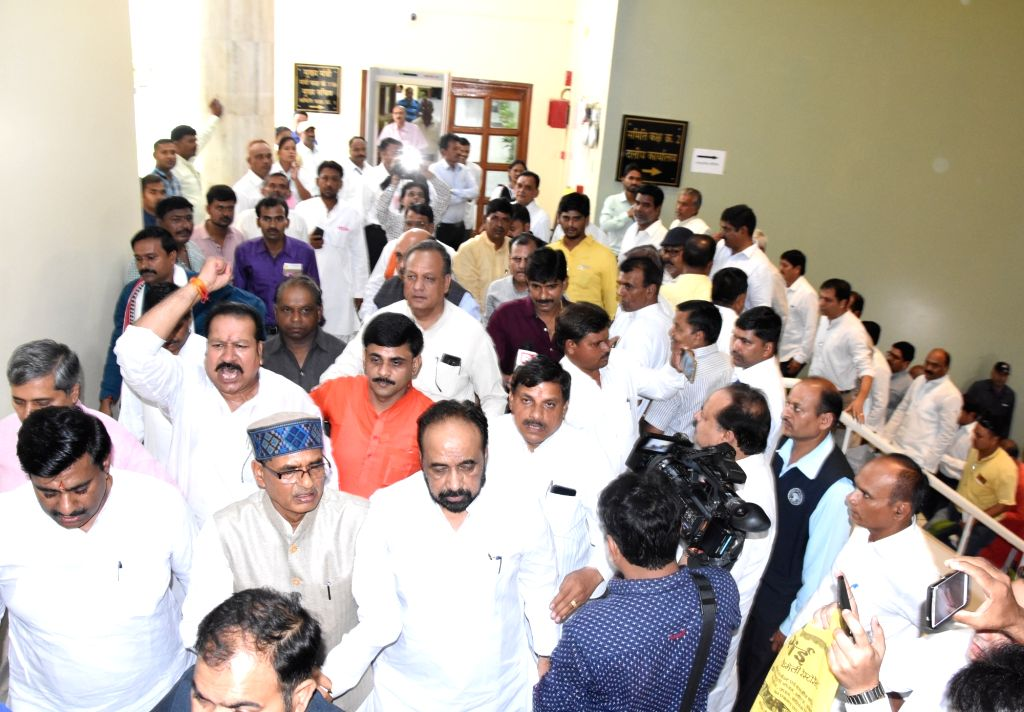 BJP legislators led by party MLA Shivraj Singh Chouhan walk out of the Madhya Pradesh Assembly during the ongoing Monsoon session, protesting over the situation of law and order in the state, ... - Shivraj Singh Chouhan