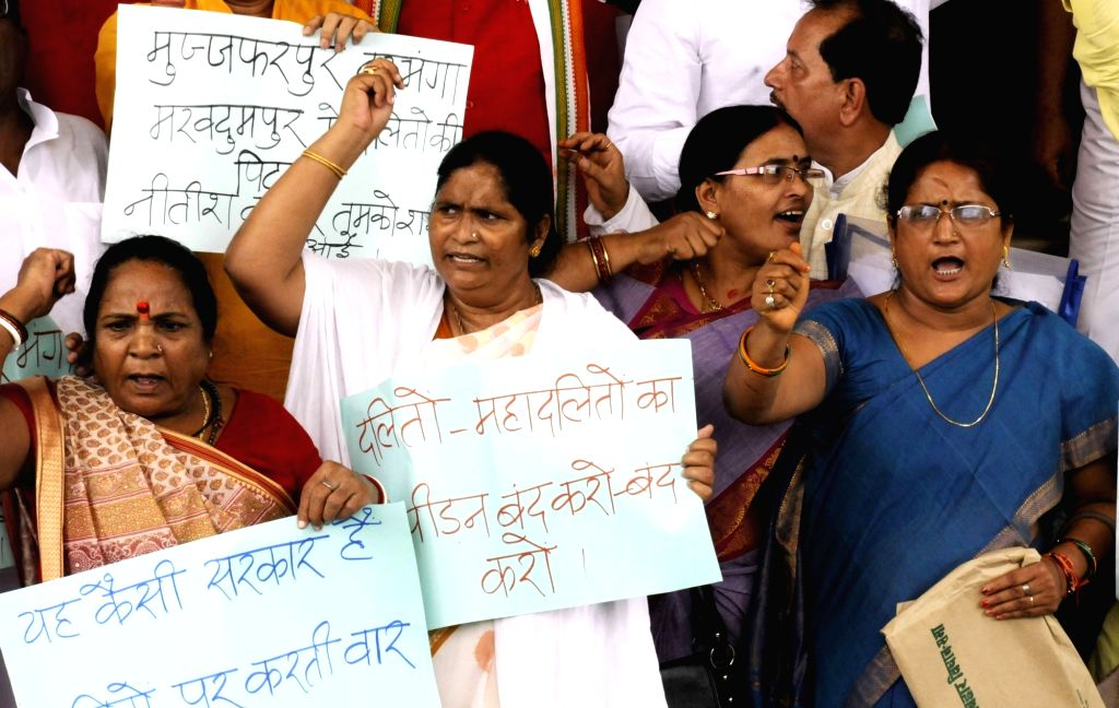 BJP legislators stage a demonstration to press for their demands at Bihar assembly in Patna on Aug 1, 2016.