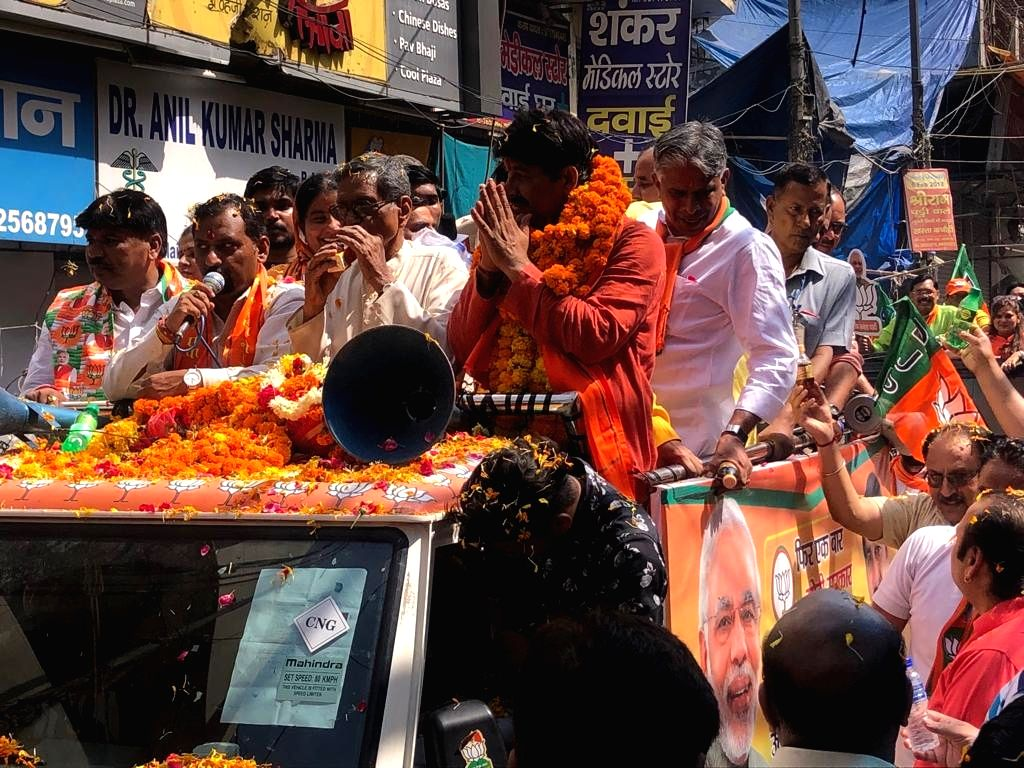 BJP Lok Sabha candidate from North East Delhi, Manoj Tiwari during a road show for the forthcoming Lok Sabha polls, in New Delhi, on May 3, 2019.