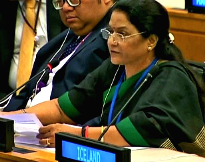BJP Member of Parliament Santosh Ahlawat speaks at a meeting of the United Nations General Assembly committee dealing with economic and financial affairs on Thursday, Oct. 12, 2017. She represents ...