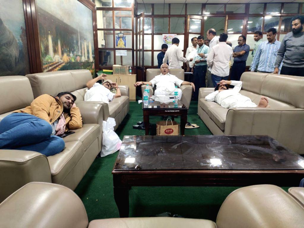 BJP MLAs at Vidhana Soudha lounge in Bengaluru on July 18, 2019.