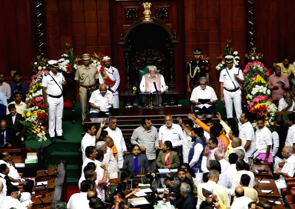 BJP MLAs create ruckus during Karnataka Governor Vajubhai Vala's joint address to the state assembly Budget Session, in Bengaluru on Feb 6, 2019.