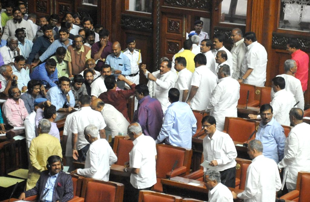 BJP MLAs create ruckus during the Budget Session of Karnataka Assembly, in Bengaluru on Feb 8, 2019.