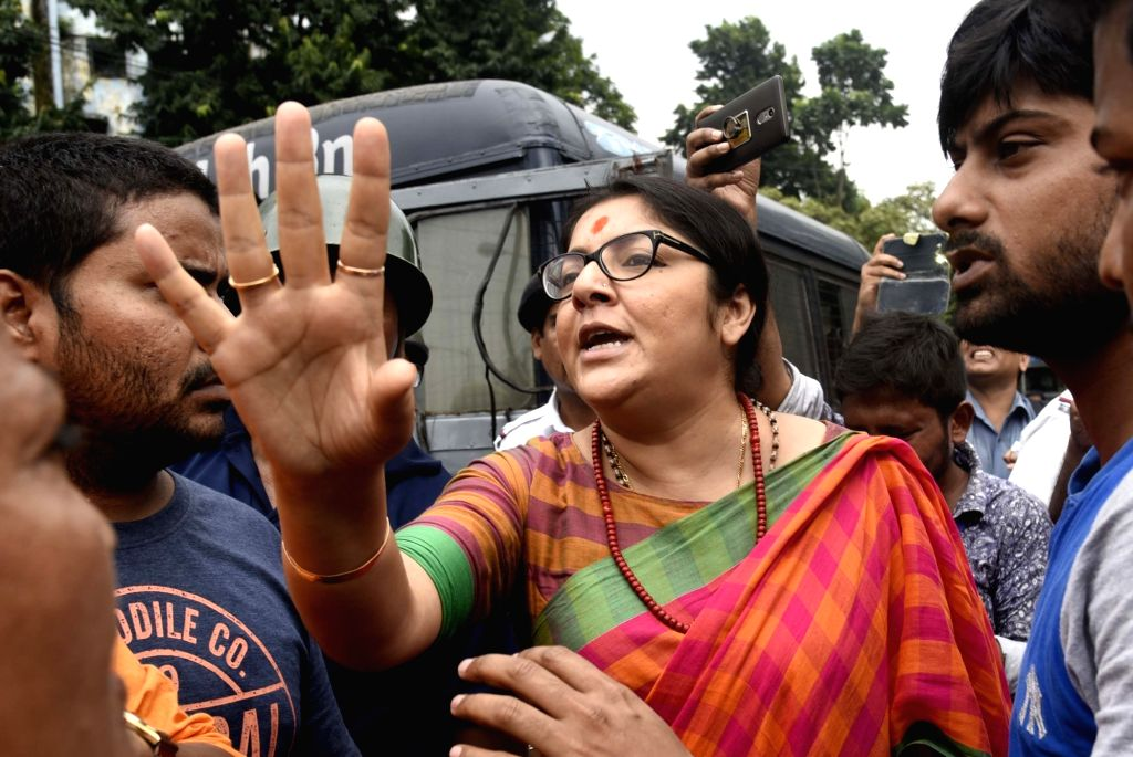 BJP Mohila Morcha chief Locket Chatterjee participates in a demonstration against West Bengal Government in Kolkata on Sept 11, 2018. - Chatterjee