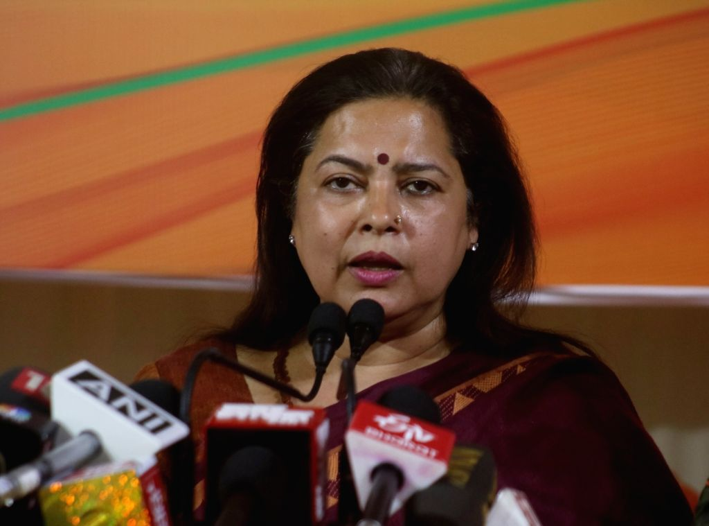 BJP MP and the party's Lok Sabha candidate from New Delhi, Meenakshi Lekhi addresses a press conference in New Delhi, on May 11, 2019.