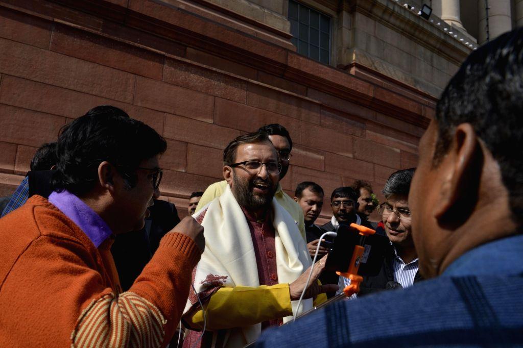 BJP MP and Union HRD Minister Prakash Javadekar at Parliament on Feb 1, 2018. - Prakash Javadekar