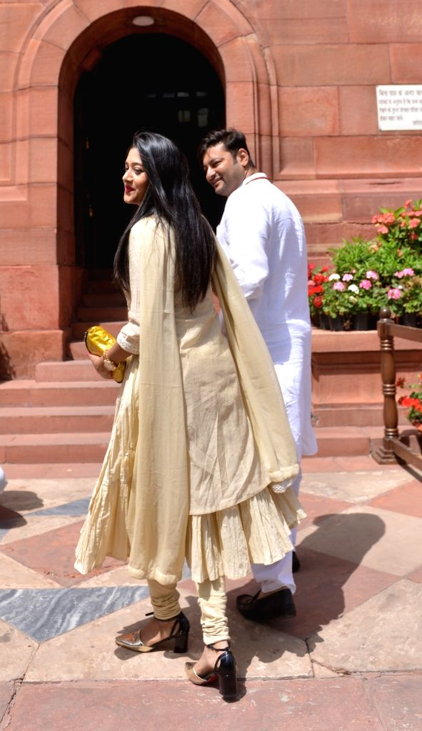 BJP MP Anubhav Mohanty and his wife Barsha Priyadarshini arrive at Parliament on March 27, 2018