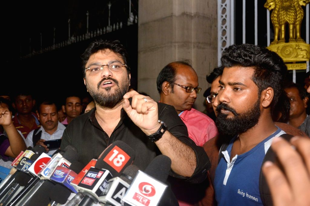 BJP MP Babul Supriyo talks to the press after meeting West Bengal Governor Keshri Nath Tripathi over clashes that broke out in West Bengal's Raniganj around a Ram Navami rally, at Raj Bhavan ... - Keshri Nath Tripathi