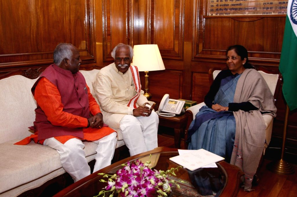 BJP MP Bandaru Dattatreya calls on Defence Minister Nirmala Sitharaman in New Delhi, on Feb 1, 2019. - Nirmala Sitharaman
