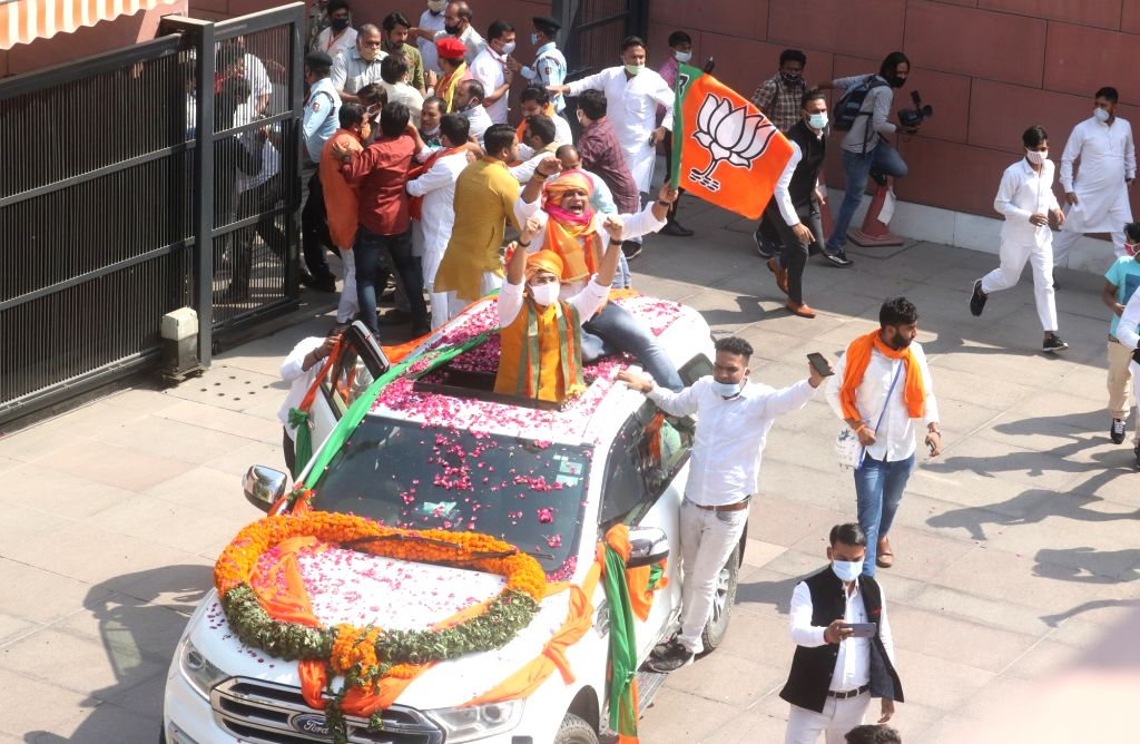 BJP MP from Bengaluru South, Tejasvi Surya arrives at the party office after holding a roadshow, to take charge as the party Yuva Morcha president, in New Delhi on Oct 19, 2020.