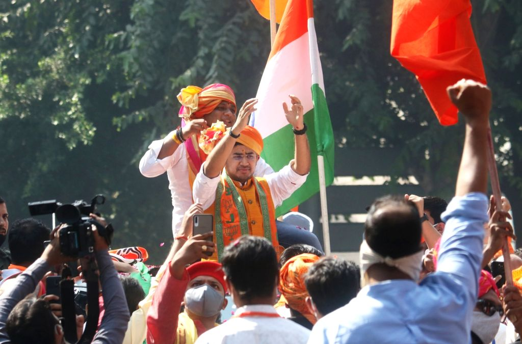 BJP MP from Bengaluru South, Tejasvi Surya holds a roadshow ahead of taking charge as the party Yuva Morcha president, in New Delhi on Oct 19, 2020.