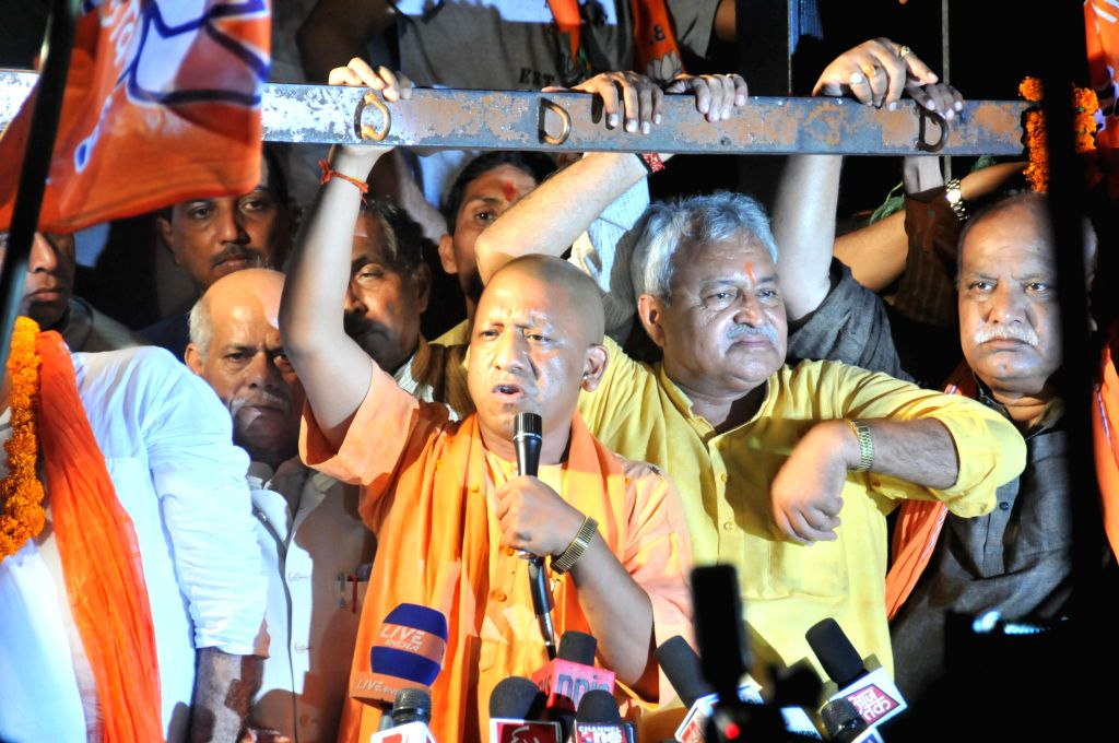 BJP MP from Gorakhpur Yogi Adityanath during a public meeting in Lucknow on Sept 10, 2014.