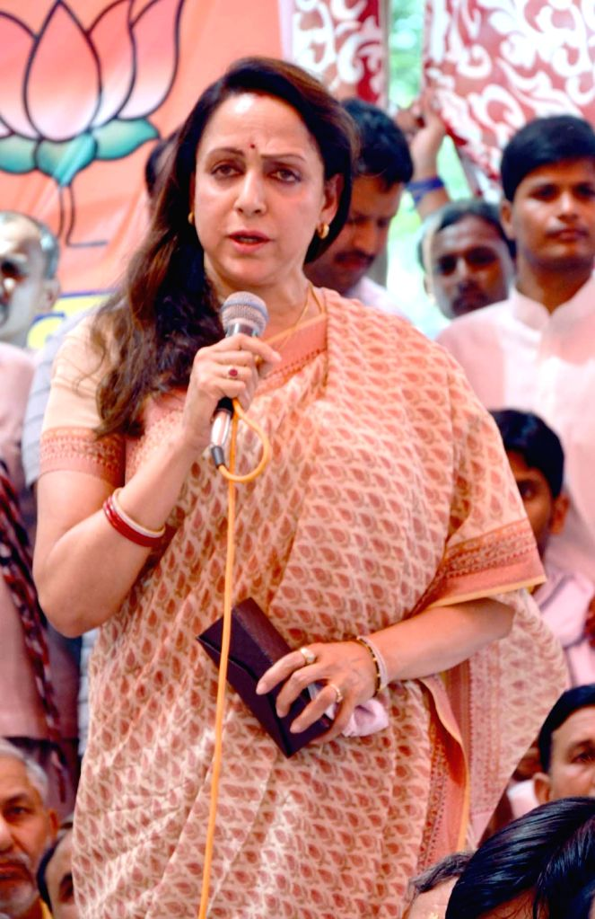 BJP MP from Mathura Hema Malini addresses during the condolence meet of the policemen who died during Jawaharbagh violence in Mathura on June 4, 2016. - Hema Malini