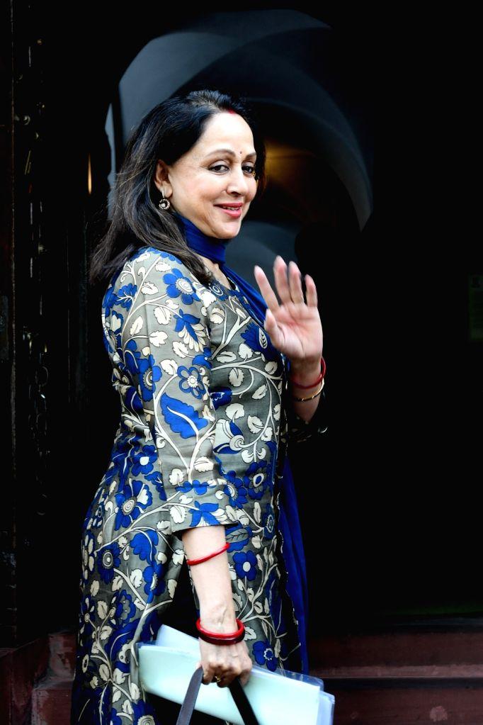 BJP MP Hema Malini at Parliament during the Budget Session, in New Delhi on Feb 10, 2020. - Hema Malini