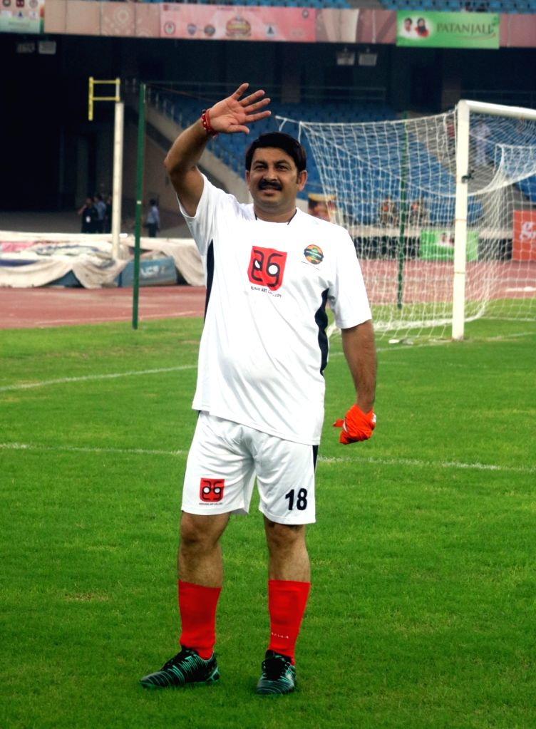 BJP MP Manoj Tiwari during a football match between Bollywood Celebrities and Members of Parliament at Jwahar Lal Nehru Stadium, in New Delhi on July 24, 2016.