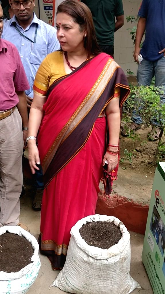 BJP MP Meenakshi Lekhi during the inauguration of the Wet Waste Composting Unit for Successful in-house Organic Waste Processing at Sangli Apartments in New Delhi on Sep 15, 2019.