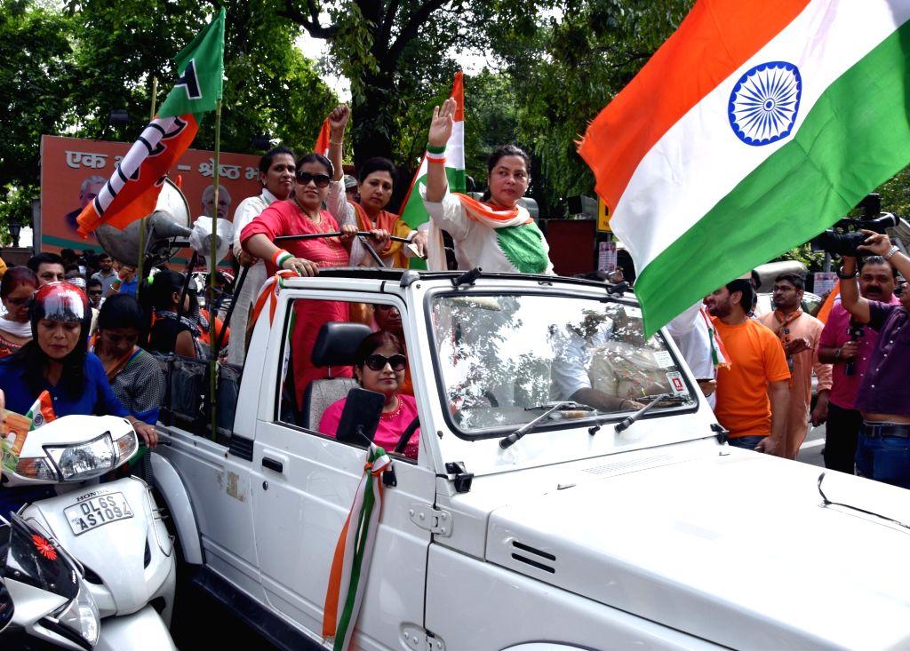 BJP MP Meenakshi Lekhi participates in Tiranga Yatra on Independence Day in New Delhi on Aug 15, 2016.