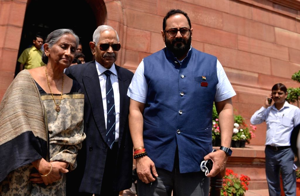 BJP MP Rajeev Chandrasekhar (R). (Photo: IANS)