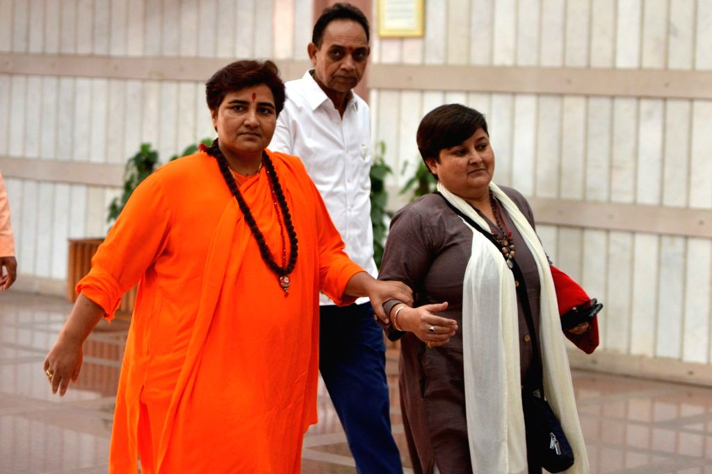 BJP MP Sadhvi Pragya Singh Thakur arrives to attend the two-day training programme 'Abhyas Varga' organised for all the newly-elected Members of Parliament of BJP in the Lok Sabha and ...