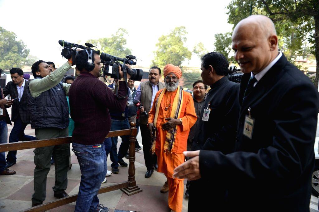 BJP MP Sakshi Maharaj at the Parliament in New Delhi on Nov 27, 2015.