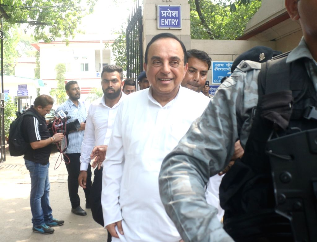 BJP MP Subramanian Swamy speaking to media at Patiala House Court in New Delhi on July 7, 2018.