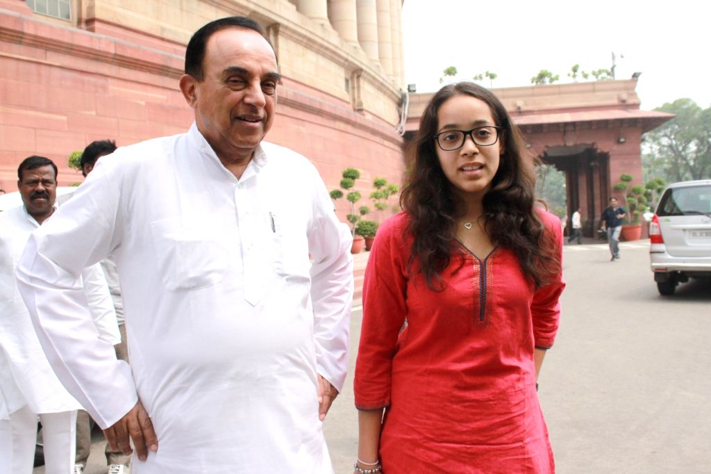 BJP MP Subramanian Swamy with grand daughter at Parliament House, on July 26,2016.