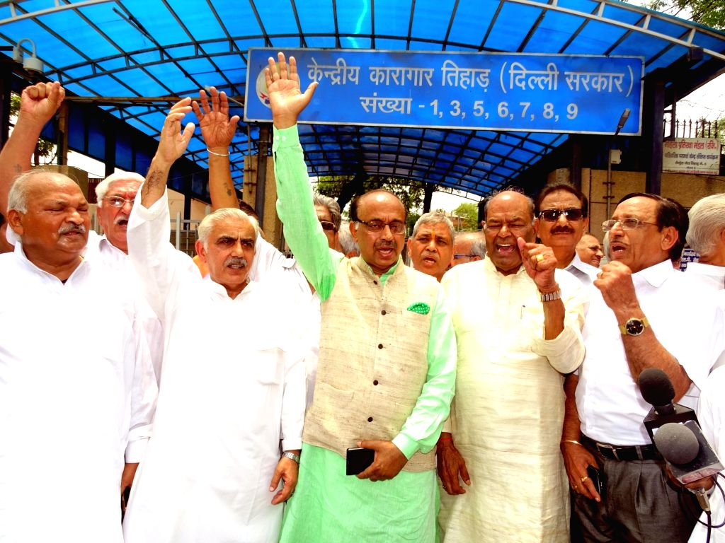 BJP MP Vijay Goel along with those who were arrested during the Emergency visits Tihar jail, in New Delhi on June 26, 2016. The Emergency came into effect from 25 June 1975.