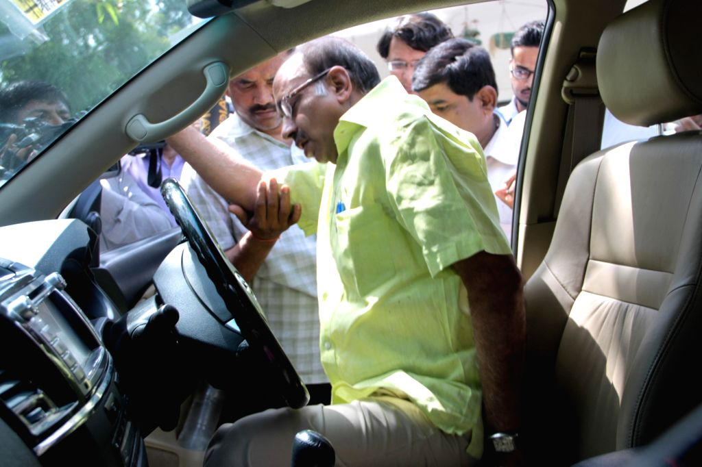 BJP MP Vijay Goel violates the odd-even traffic scheme aimed at battling pollution by driving an odd numbered car on an even date in New Delhi, on April 18, 2016.