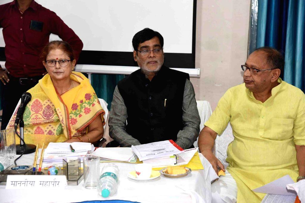 BJP MPs Ram Kripal Yadav and Arun Kumar Sinha and Patna Mayor Sita Sahu preside over a meeting of the Municipal Corporation, in Patna on Nov 14, 2019. - Kripal Yadav and Arun Kumar Sinha