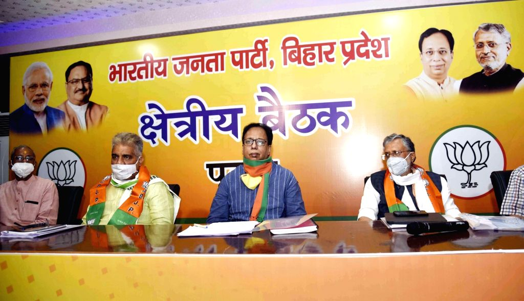 BJP National General Secretary Bhupender Yadav, party's Bihar unit president Sanjay Jaiswal and Bihar Deputy Chief Minister Sushil Kumar Modi at the party's regional meeting, at state party ... - Sushil Kumar Modi