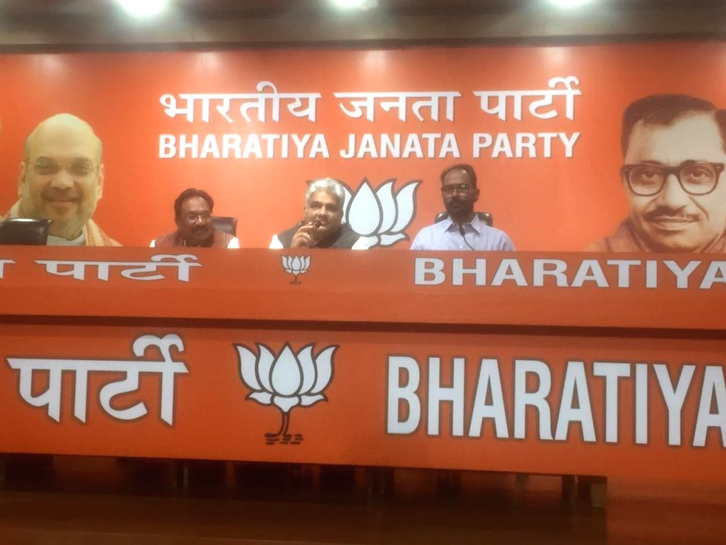 BJP National General Secretary Bhupender Yadav addresses a press conference at the party's headquarters in New Delhi on Nov 15, 2019.