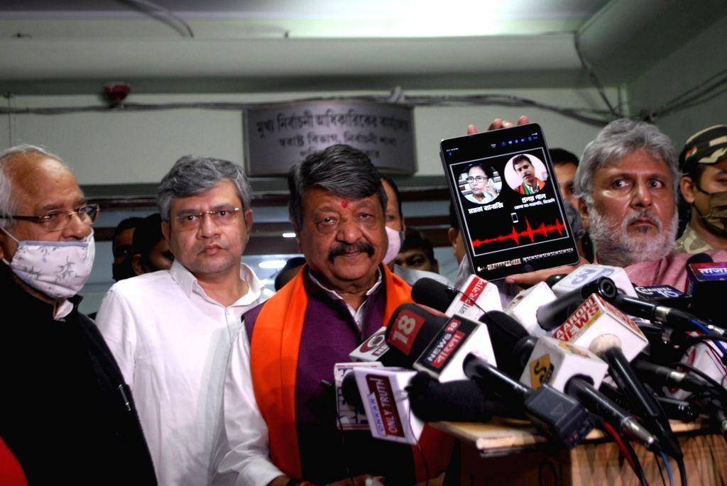 BJP National General Secretary, Kailash Vijayvargiya, MP Arjun Singh with other leaders comes out from Chief Election Office after meet with Chief Election officer in Kolkata on Saturday ... - Arjun Singh