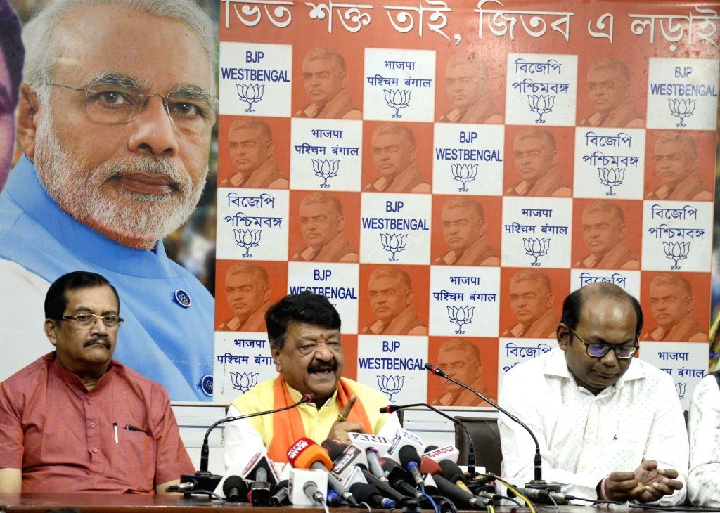 BJP National General Secretary Kailash Vijayvargiya addresses a press conference at the party's West Bengal headquarters in Kolkata, on Dec 12, 2019.