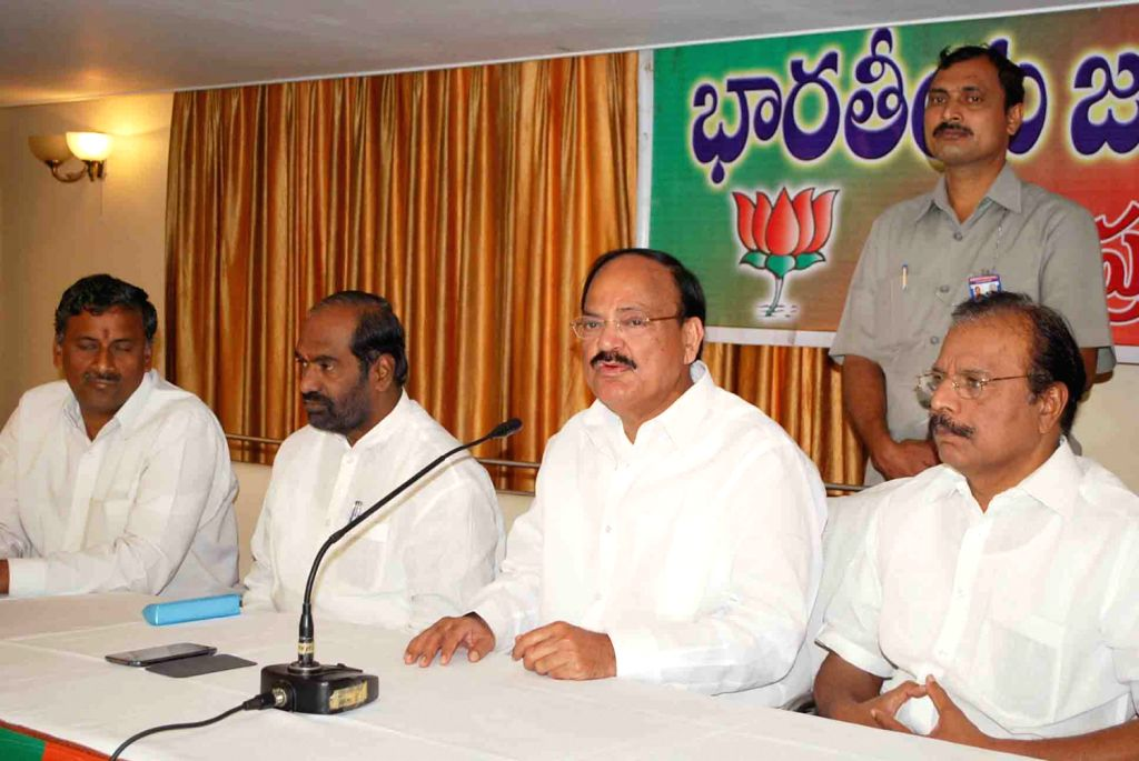 BJP National Leader Venkaiah Naidu addressing media on Saturday 2nd of February 2013 in Hyderabad.