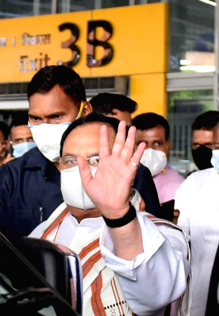 BJP National President J.P Nadda arrived at NSCBI Airport, in Kolkata on May 4, 2021.