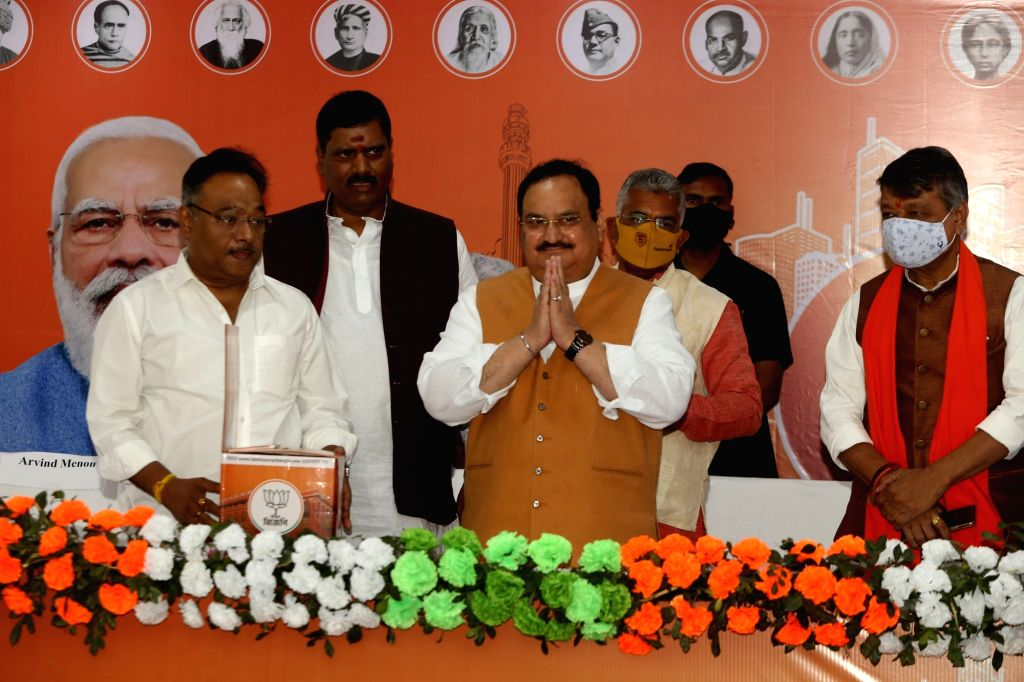 BJP National President J P Nadda during lunch of Lakho Sonar Bangla campaign ahead of state legislative Assembly election in Kolkata on Thursday 25th February, 2021.