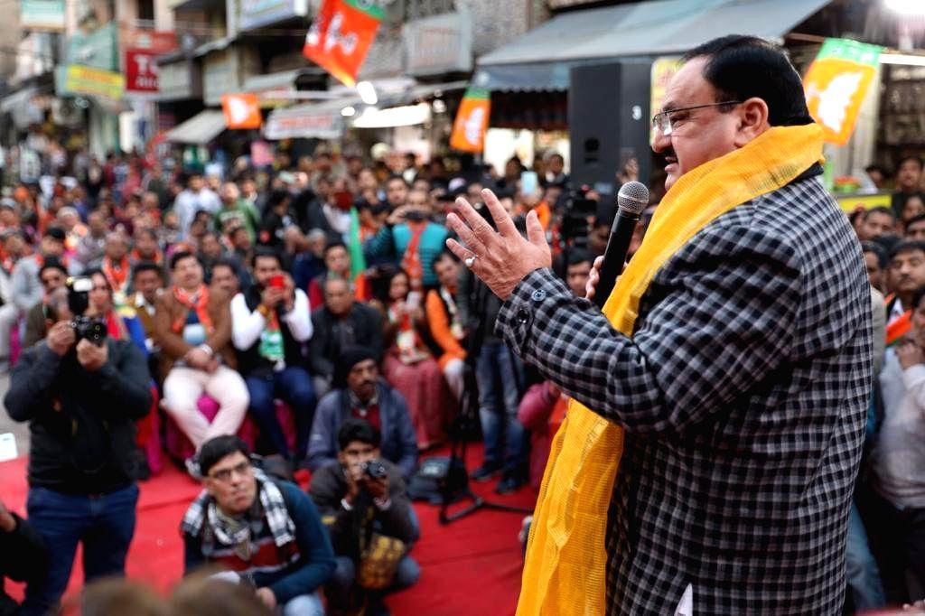 BJP National President JP Nadda addresses a gathering during 'Nukkad Sabha' ahead of Delhi Assembly elections, at Pandav Nagar's D-Park in New Delhi on Jan 24, 2020.