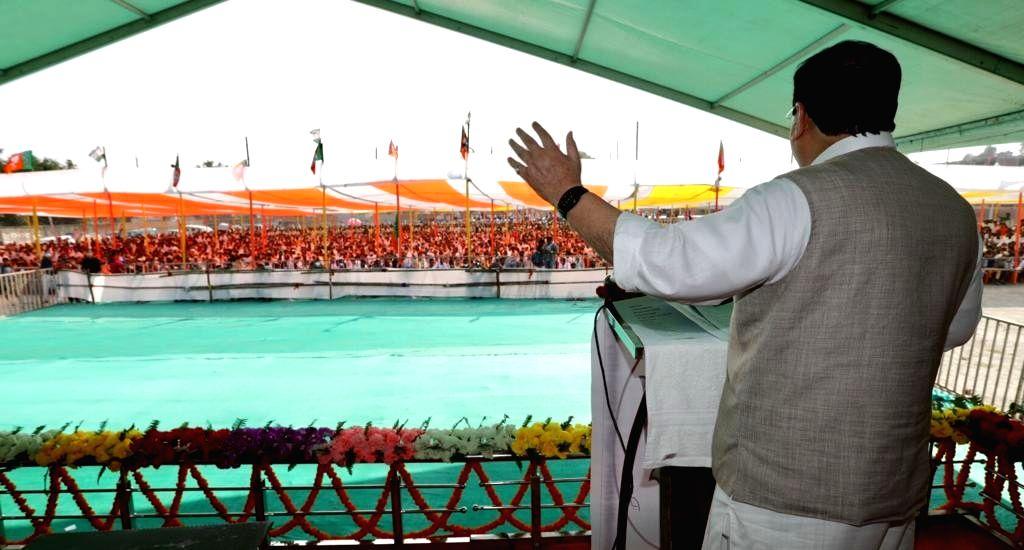 BJP National President JP Nadda addresses an election rally ahead of Bihar Assembly polls, in Aurangabad on Oct 26, 2020.