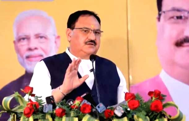 BJP National President JP Nadda addresses at the launch of the 'Atma Nirbhar Bihar' campaign, in Patna on Sep 12, 2020.