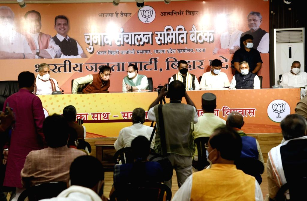 BJP National President JP Nadda, Bihar party president Sanjay Jaiswal, party National General Secretary Bhupender Yadav, state party election in-charge Devendra Fadnavis, Union Minister and ... - Nityanand Rai and Sushil Kumar Modi