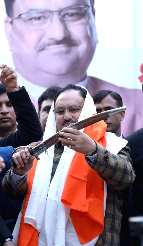 BJP National President JP Nadda during a public meeting organised to campaign for the party's candidate Anil Goyal ahead of Delhi Assembly elections, at Krishna Nagar in New Delhi on Jan ...