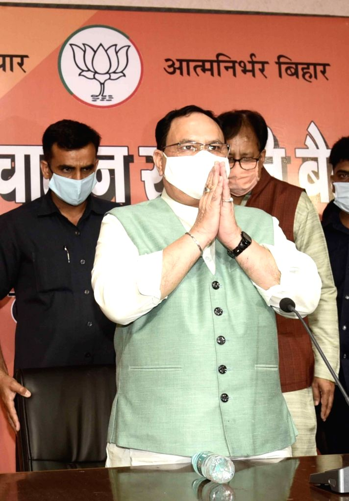 BJP National President JP Nadda during the party's Election Steering Committee Meeting ahead of Bihar Assembly elections, in Patna on Sep 11, 2020.