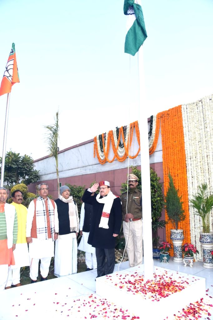 BJP National President JP Nadda hoists the National Flag on the occasion of India's 71st Republic Day, at the party's headquarters in New Delhi on Jan 26, 2020.