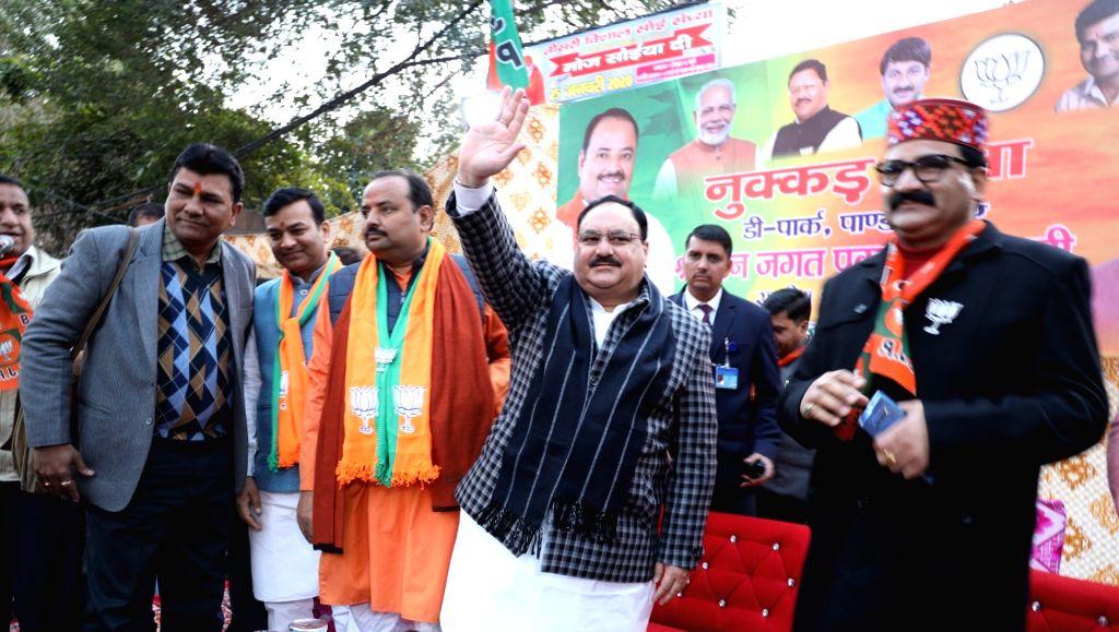 BJP National President JP Nadda holds 'Nukkad Sabha' ahead of Delhi Assembly elections, at Pandav Nagar's D-Park in New Delhi on Jan 24, 2020.