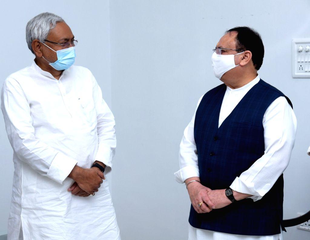BJP National President JP Nadda meets Bihar Chief Minister Nitish Kumar in Patna on Sep 12, 2020. - Nitish Kumar