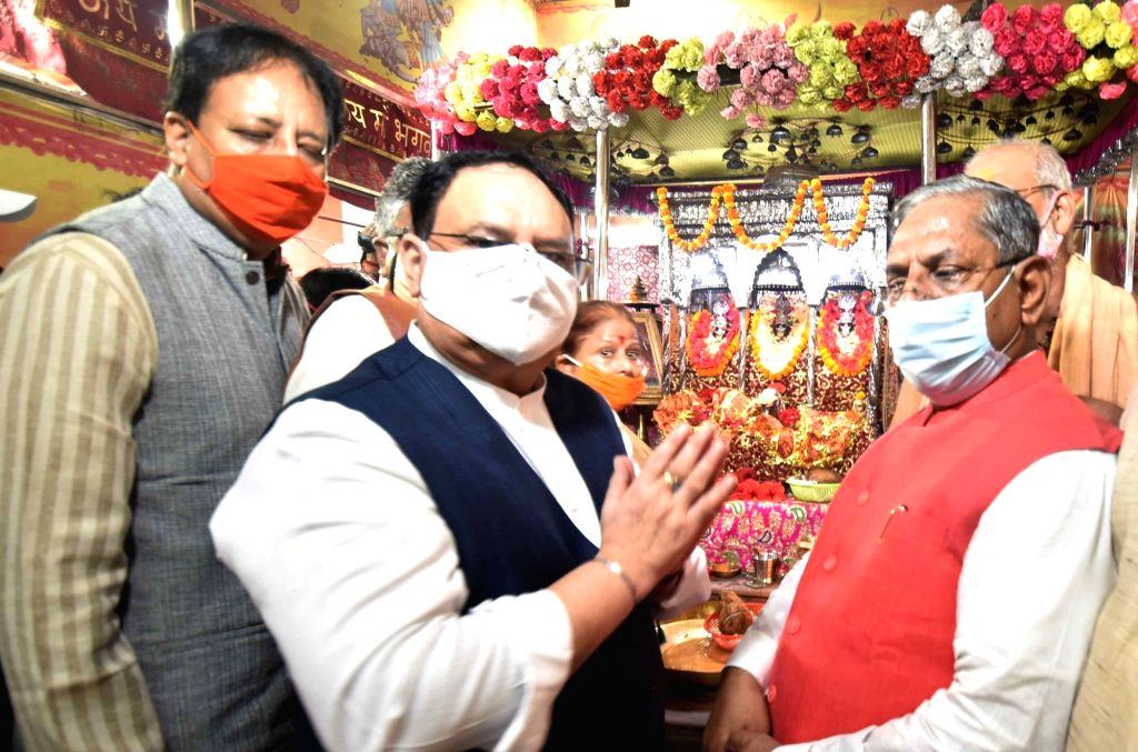 BJP National President JP Nadda offers prayers at the Shri Badi Patan Devi Mandir in Patna on Sep 12, 2020. He was accompanied by Union Law Minister Ravi Shankar Prasad, BJP State President ... - Ravi Shankar Prasad and Nand Kishore Yadav