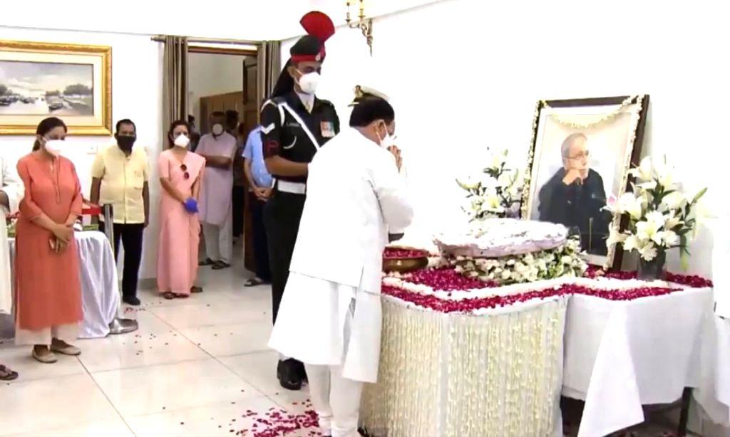 BJP National President JP Nadda pays tributes to Former President Pranab Mukherjee at his 10 Rajaji Marg residence in New Delhi on Sep 1, 2020. Mukherjee passed away on Monday evening at ... - Pranab Mukherjee