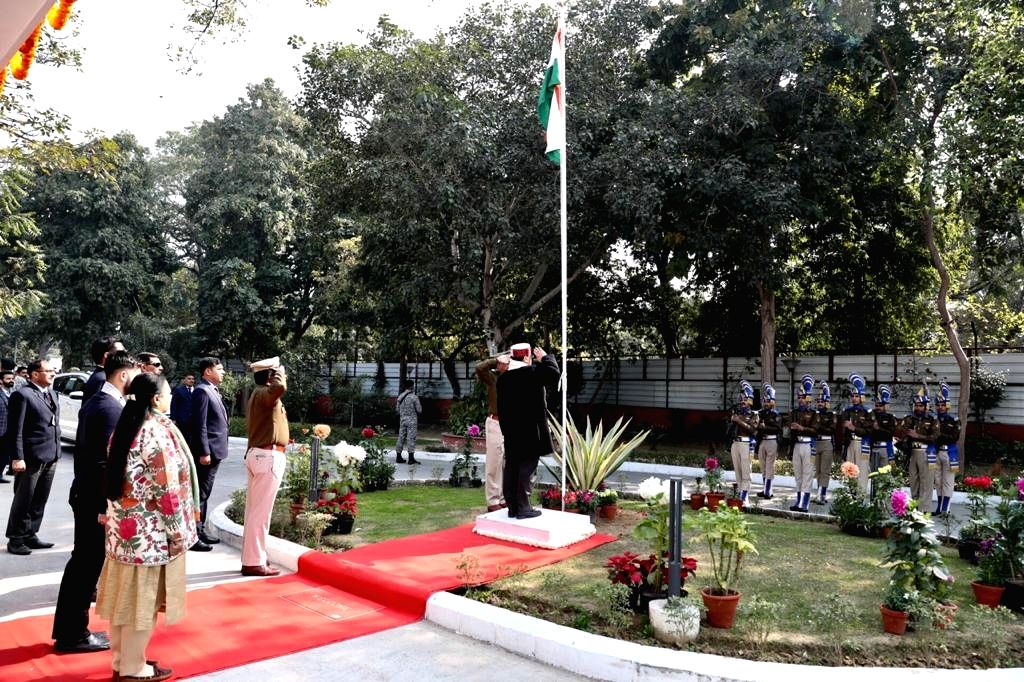 BJP National President JP Nadda takes the salute after hoisting the National Flag on the occasion of India's 71st Republic Day, at the party's headquarters in New Delhi on Jan 26, 2020.