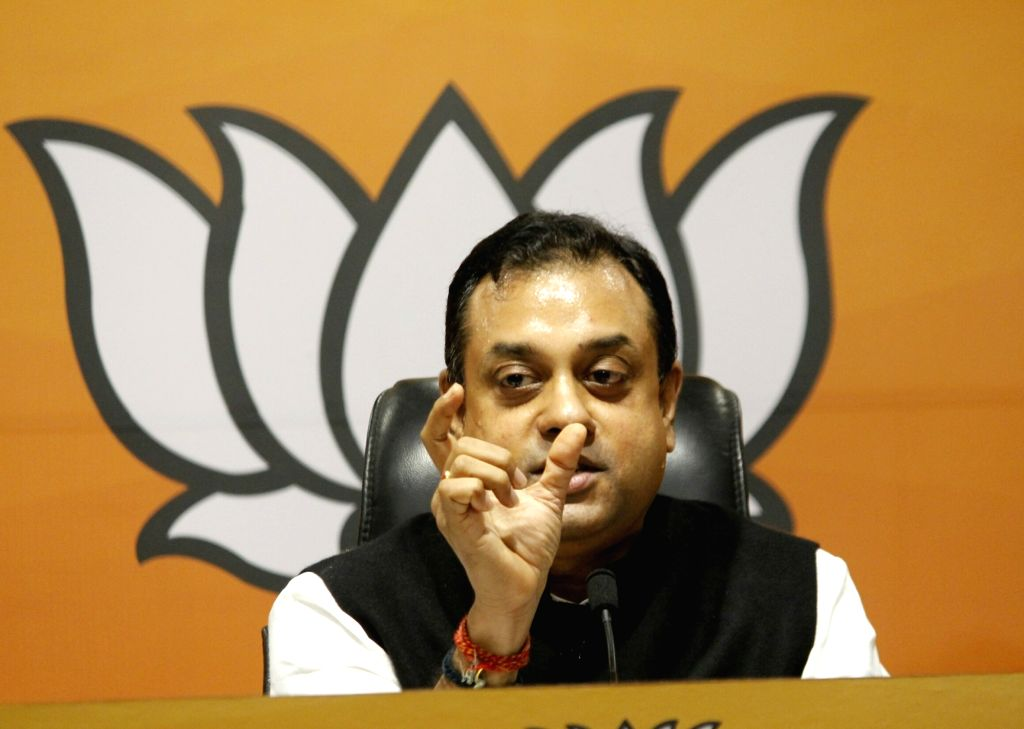 BJP National Spokesperson Sambit Patra addresses a press conference at the party's headquarters, in New Delhi on Aug 31, 2020.