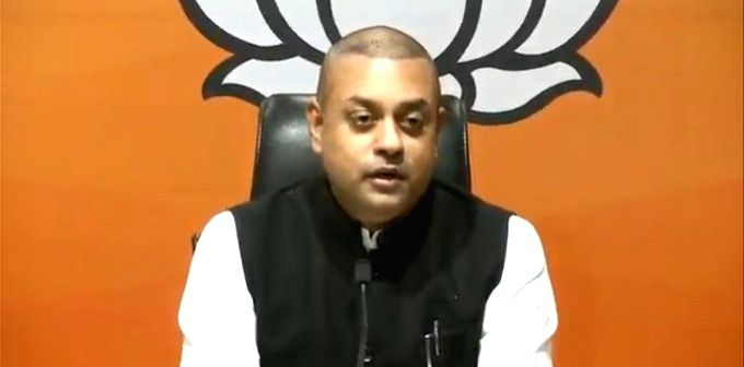 BJP National Spokesperson Sambit Patra addresses a press conference at the party's headquarters in New Delhi on Oct 29, 2020.